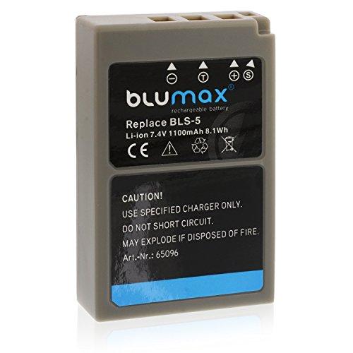 Batería Blumax BLS-5 / BLS-50 para Olympus | 1100mAh | compatible con diversos modelos de cámaras digitales de Olympus Stylus 1 1s PEN E-PL2 E-PL3 E-PL5 E-PL6 E-PL7 E-P3 E-PM1 E-PM2 -- OMD E-M10 y E