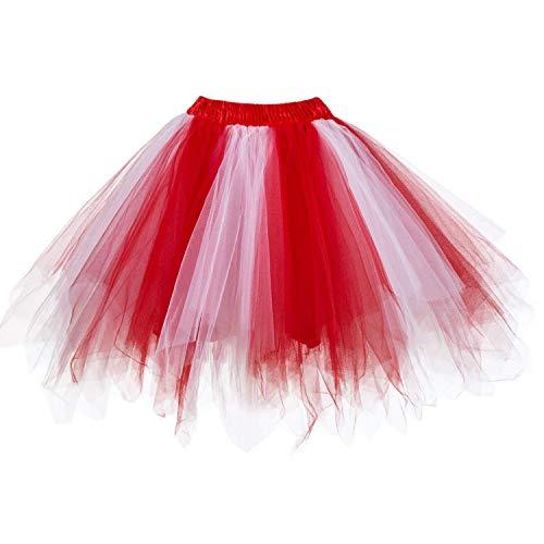 DresseverBrand Damen Petticoat 50er Rockabilly Jahre Retro Tutu Ballet Tüllrock Cosplay Crinoline Rot-weiß Small/Medium