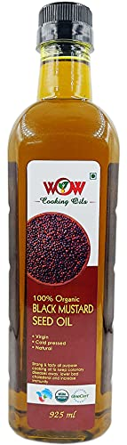WOW Cooking Oils Organic Black Mustard Seed Cooking Oil, 925 ml
