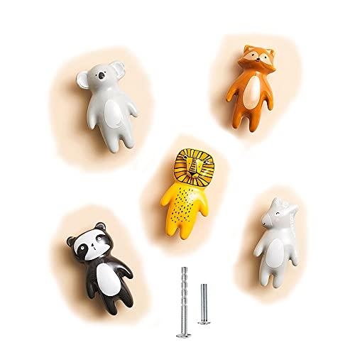 5 Stück Niedliche Tierknäufe Knöpfe Keramikknäufe für Kinder, Schrank Knauf Griffe Kinderzimmer Möbelknöpfe tiere für Tür Schubladen kommode Schrankknäufe mit Schrauben