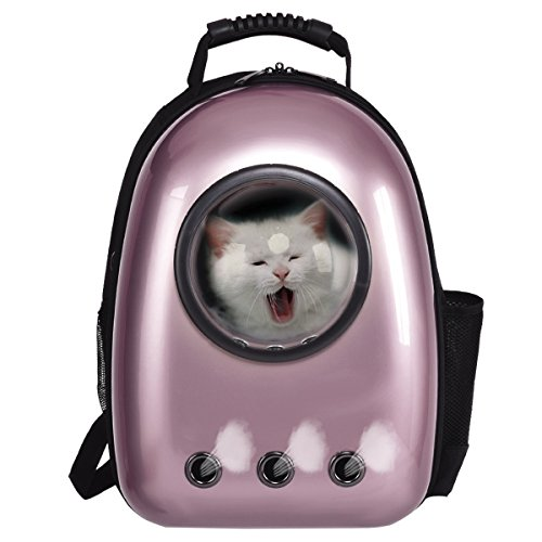 COSTWAY Haustier Rucksack Raumkapsel Hunde-Rucksack Transport-Rucksack Hunde-Tasche tragbar (Rose Golden)