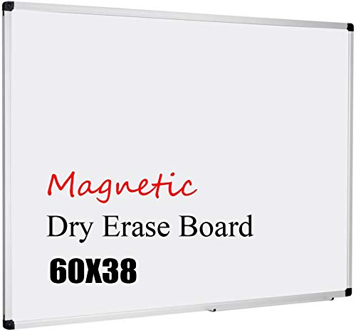 XBoard Magnetic Whiteboard 60 x 38, White Board Dry Erase Board with Detachable Marker Tray