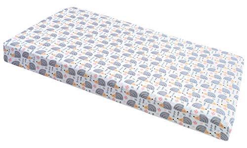 Spannbettlaken Spannbetttuch für Babybett Kinderbett 60x120 cm, 70x140 cm, 100% Baumwolle, fürs Baby, Baby Bettwäsche Größe: 120x60 cm, Muster: Gute Nacht Grau (graue Igel)