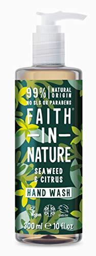 Faith in Nature Jabón Líquido de Manos Natural de Algas Marinas y Cítricos, Nutritivo, Vegano y No Testado en Animales, sin Parabenos ni SLS, 300 ml