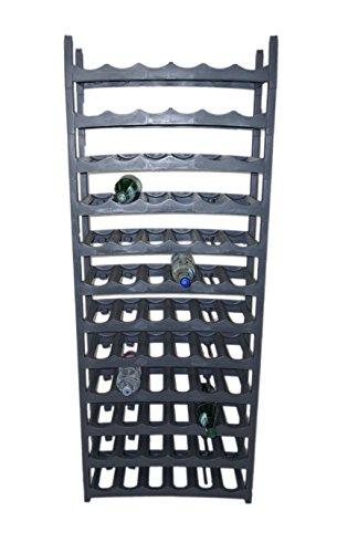 Novaliv Weinregal für 144 Flaschen | Flaschenregal grau |aus stabilem Kunststoff, stapelbar (Anthrazit, 24)
