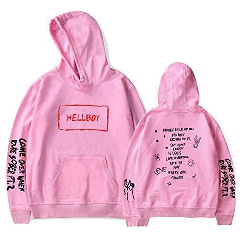 WTZFHF Lil Peep Street capuchonpullover met ronde hals heren hoodies weep print fashion warme pullover geïnspireerd voor mannen vrouwen tieners rapper hip pop pullover street mode sweatshirt Large roze