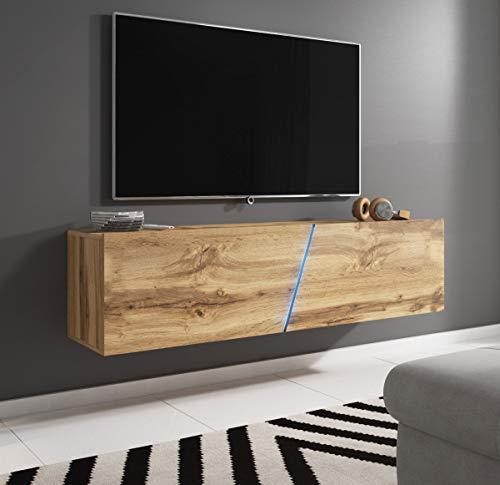 WFL GROUP Mueble de TV Moderno Montado en la Pared o de Pie con LED (RGB) - 160 cm - hasta TV de 70' - Roble Wotan