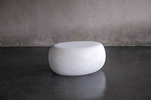 rockingrocker - FCT27WT Lightweight Concrete Artistic Style Furniture with Multifunction - Seat Chair/End Table/Ottoman/Garden Decoration - Suitable for Indoor & Outdoor - White