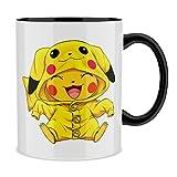 OKIWOKI Tazza con Maniglia e Interno colorato (Nero) - Parodia Pokémon - Pikachu - Ultimate Cosplay (Tazza di qualità Premium - Stampata in Francia - RIF : 880)