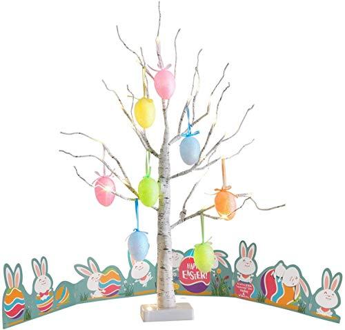 EAMBRITE Luz de Árbol con Huevo de Pascua 60cm 24LT Led Abedul Lámpara Soporte de Joyería Centro de Mesa Decoración para Pascua Resurrección Fiesta Hogar Casa Boda Aniversario