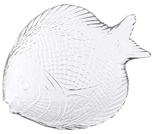 Red Co. Kleine Glasschale in Fischform, für kleine Lebensmittel und Snacks, Ornamente, Organizer, Schmuckaufbewahrung, 20,3 x 15,2 x 2,5 cm