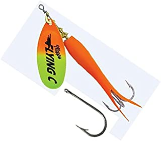 Mepps Flying C Single/Treble Hook Fishing Lure, 7/8-Oz, Hot Orange Sleeve/Chartreuse Orange Blade
