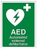 Vsafety, segnaletica di sicurezza per defibrillatore automatico esterno, 31033AN S, 150mm x 200mm, verde (lingua inglese)