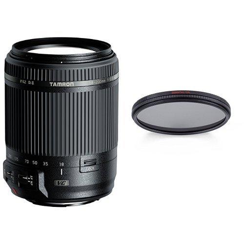 Tamron 18-200mm F/3,5-6,3 Di II VC Obiettivo Stabilizzato per Canon, Nero + Manfrotto Essential MFESSCPL-62 Filtro Polarizzatore Circolare da 62 mm, Nero/Antracite