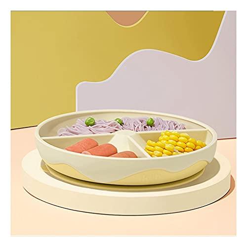 Placa de Cena para niños La Placa de Cena de Silicona es Adecuada para niños, vajilla, Cena para niños, Rosa roja/Amarilla/Azul (Color : B)