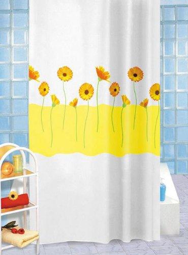 Wohnideenshop Duschvorhang Sally weiß gelb mit Gerbera´s 180cm breit x 200cm lang Textil inkl.Ringe