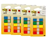 Post-it Flags with On-The-Go Dispenser, Assorted Primary Colors, 1/2-Inch Wide, 100/Dispenser, Pack of 4