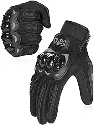 COFIT Motorcycle Gloves for Men and Women, Full Finger Touchscreen Motorbike Gloves for BMX ATV MTB Riding, Road Racing, Cycling, Climbing, Motocross - Black L by COFIT