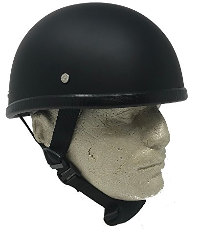 "Novelty Eagle Flat Black Chopper Biker Motorcycle Helmet Low Profile (Small 21 1/2"" - 22"")"