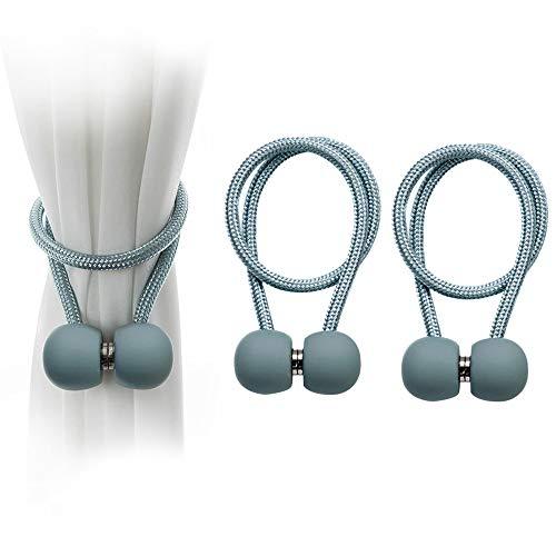 BEYAOBN 2 Stück Magnetische Vorhang Raffhalter Magnetschnalle mit gefrostetem Vorhang für Zuhause Büro Dekoration,stark und langlebig, Keine Installation(Blauer See)