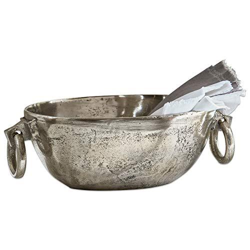 Loberon Schale Starlett, Aluminiumguss, H/Ø ca. 12/22 cm, silber