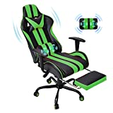 E-Sports Chair,Massage Gaming Chair,Racing Office Computer Game Chair,Ergonomic Gaming Chair,Racing Style with Adjustable Recliner and Retractable Footrest and Headrest/Lumbar Pillow(Gaming Green)
