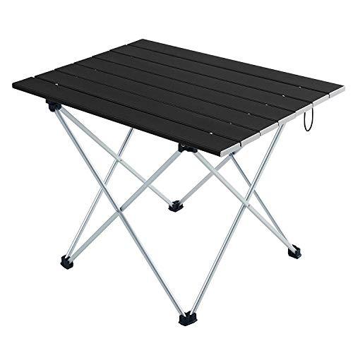 Movaty Klapptisch Aluminium,Esstisch,campingtisch,Leicht tragbar,Fishing,für Camping im Freien Picknick Angeln 56 x 41 x 40 cm (Schwarz)