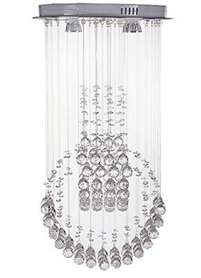 "Diamond Life Modern Rain Drop LED Chandelier with Crystal Balls Ceiling Lighting Fixture W16""xL16""xH30"", Bulbs Included"