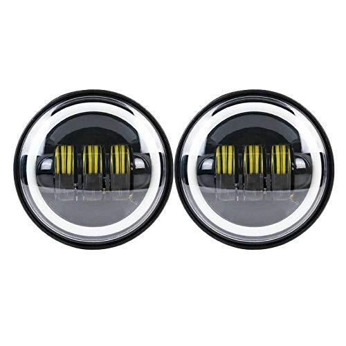 4.5 '4 1/2 pulgadas impermeable motocicleta LED luces antiniebla de paso aptas para motocicleta con 4.5 pulgadas LED de luz antiniebla aptas para Sportster XR1200-2pcs_balck_halo