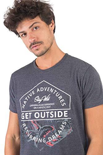 Camiseta Gola Olímpica Estampa Silk Mescla, G, Grafite