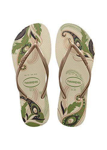 Havaianas Women's Slim Organic Flip Flop Sandals, Floral Design, Beige, 39/40 BR (9-10 M US)