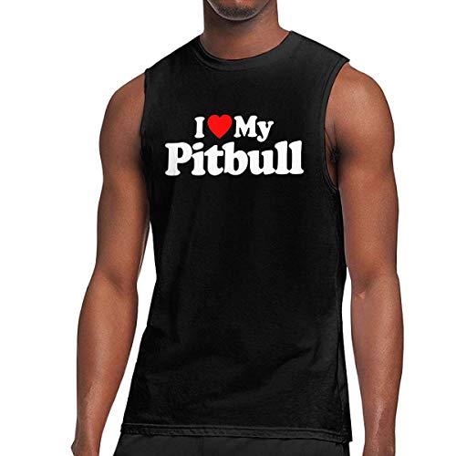 TYUHN Camiseta sin Mangas para Hombre I Love My Pitbull Muscle, Chaleco Holgado para Correr