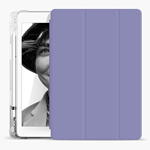 Aoub iPad 5th/6th Generation 9.7 Case 2018/2017 with Pencil Holder Thin Lightweight Smart Protective Stand TPU Transparent Back Shell, for Apple iPad 9.7 Inch Model A1822/ A1823/ A1893/ A1954(Purple)