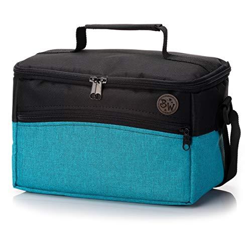 BAMBINIWELT Tasche für Toniebox, Musikbox-Tasche, für Hörwürfel z.B. Toniebox und Tigerbox Touch, verstellbare Innenfächer, Netzfach für Zubehör, Toniebox Tasche (türkis meliert)