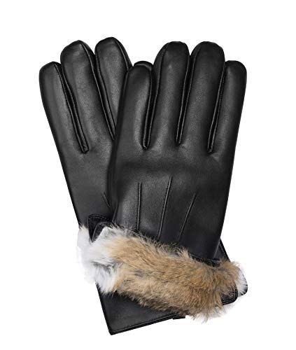 MESSERIO Authentic Sheepskin Leather Winter Gloves for Men with Rabbit Fur Lining (Large)