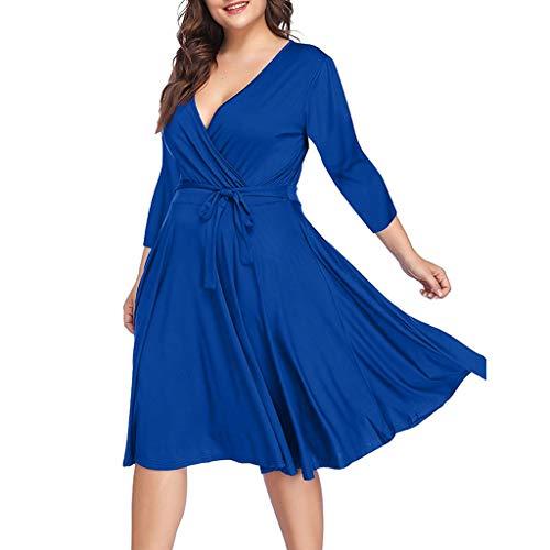 Damen Freizeit kleider,Langarm Loose Kleid blusenkleid Einfarbiges kleid mit V-Ausschnitt Plus Size Casual V-Ausschnitt einfarbig sieben Viertel Ärmel Taille Kleid
