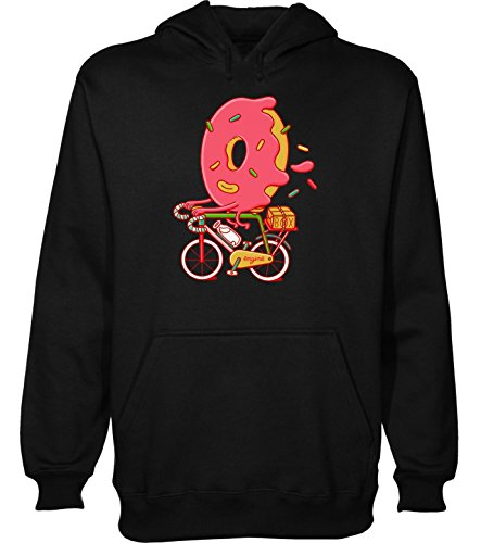 Sweet Donut Riding A Bicycle Artwork Kapuzenpulli für Herren Large