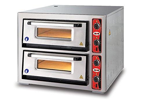 GMG Profi Pizzaofen CLASSIC PF 7070 DE für Gastronomie, 2 Backkammern/Doppelkammer dual - 4 + 4 x Ø 34 cm Pizzen - 70x70x15cm, bis zu 450°C (Ober- und Unterhitze getrennt regelbar), 10.000 Watt