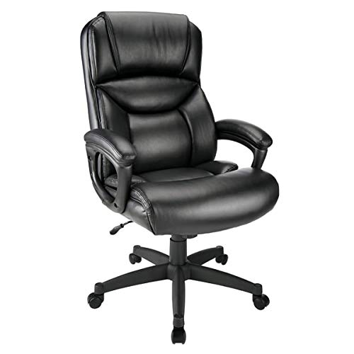 Realspace Fennington Bonded Leather High-Back Chair, Black