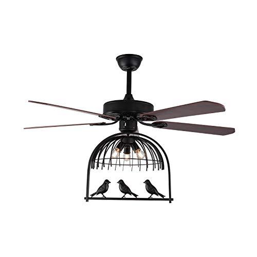 Ventilador LED de techo, diseño especial de la jaula para pájaros, ventilador de techo con luz, mando a distancia, regulable, 3 colores, motor silencioso, motor reversible, hierro