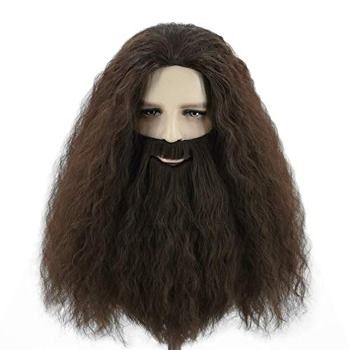Topcosplay Men's Wigs with Beard Dark Brown Halloween Costume Wigs for Adults and Kids
