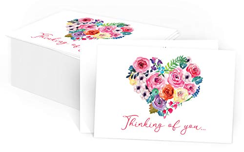 """50 Thinking of You Watercolor Heart Postcards - Encouragement Cards for Friends, Teacher, Kids, Family, Clients, Church - Missing You Greeting Cards to Say Hello and Miss You- (Bulk Pack 4x6"""")"""