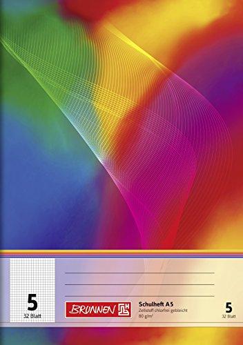 Brunnen 104530502 Schulheft A5 (32 Blatt, kariert, mit Linienblatt, Lineatur 5)