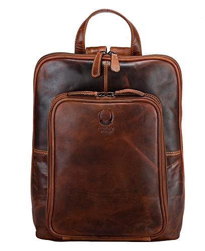 Corno d´Oro Leder Damenrucksack mit vielen Fächern I Damen Lederrucksack Rucksack für 14 Zoll Laptop I Vintage Daypack Tagesrucksack Braun BP817