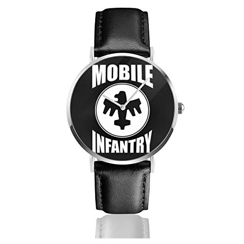 Unisex Business Casual Mobile Infanterie White Design Starship Troopers Uhren Quarz Leder Uhr mit schwarzem Lederband für Männer Frauen Young Collection Geschenk
