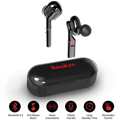 Wireless Earbuds, Basskye Bluetooth 5.0 Earbuds with Charging Case TWS Stereo Headphones in-Ear Built-in Mic Headset Premium Sound with Deep Bass for Sport