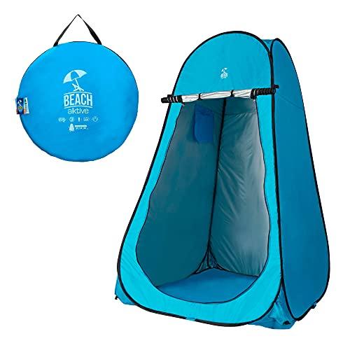 Tienda campaña cambiador con suelo para ducharse en el camping camper azul claro