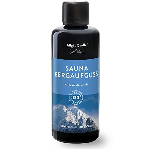 AllgäuQuelle Saunaaufguss mit 100{05f10ad1abbc18f13a39e191829129544f0a778ff2322ba08f67b8640c29e81b} BIO-Öle Atemwohl Eukalyptus Minze Salbei Cajeput (100ml). Natürlicher Sauna-aufguss m. ätherische Sauna-Öle im Aufguss-Mittel. Saunaöl natrurrein (kba) Bio-Saunaduft