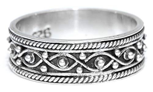 WINDALF Magischer Vintage Wunsch-Ring SINIA 0.7 cm Elfenglück Midi-Ring Freundschaftsring Bohemia Silberring Handarbeit Silber (Silber, 52 (16.6))
