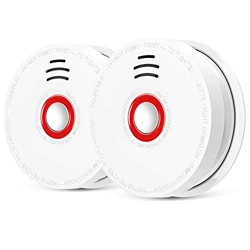 2 Pack Photoelectric Smoke Detector & Alarm, Battery-Operated(Not Hardwired) Smoke and Fire...